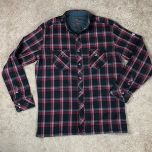 KUHL Black & Red Plaid Flannel Shirt Size Large